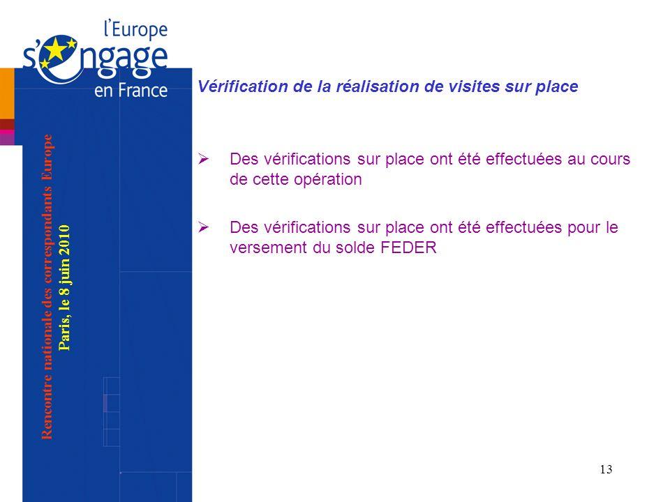 13 Vérification de la réalisation de visites sur place Des vérifications sur place ont été effectuées au cours de cette opération Des vérifications su