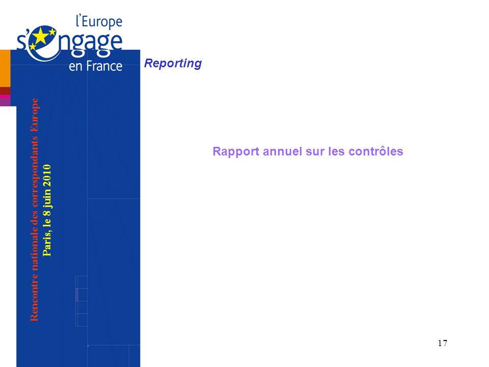 17 Reporting Rapport annuel sur les contrôles Rencontre nationale des correspondants Europe Paris, le 8 juin 2010