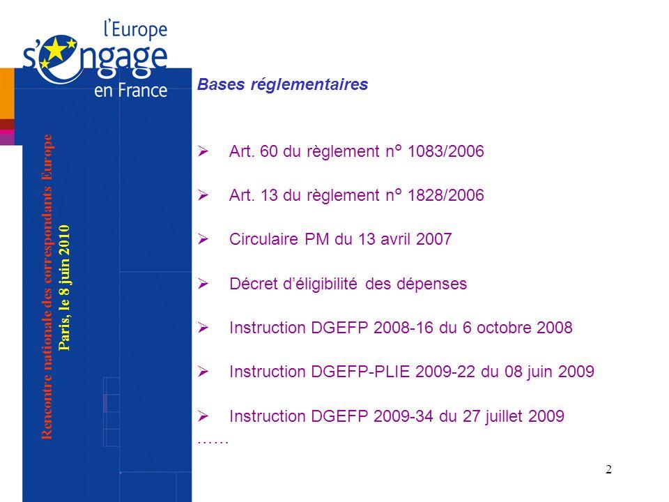 2 Bases réglementaires Art. 60 du règlement n° 1083/2006 Art. 13 du règlement n° 1828/2006 Circulaire PM du 13 avril 2007 Décret déligibilité des dépe