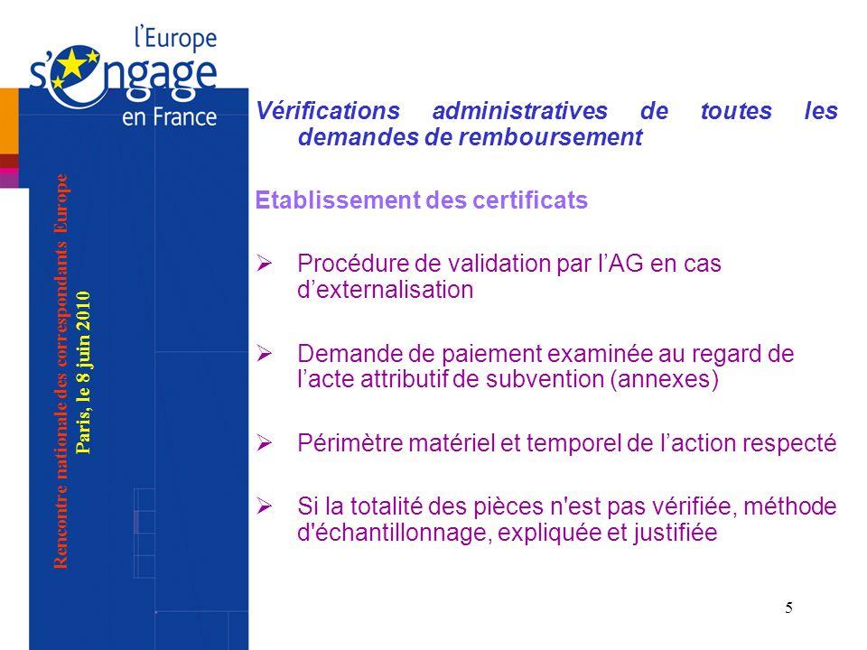 5 Vérifications administratives de toutes les demandes de remboursement Etablissement des certificats Procédure de validation par lAG en cas dexternal
