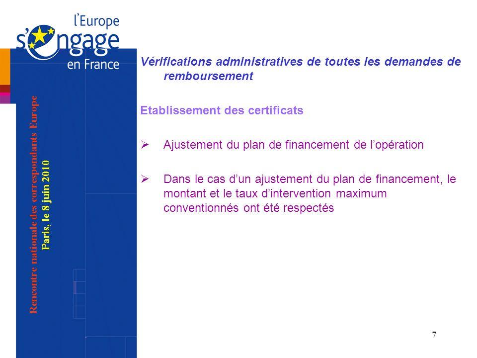8 Vérifications administratives de toutes les demandes de remboursement Etablissement des certificats Vérification des cofinancements publics, cofinancements privés et conformité à lacte attributif Ressources éventuelles non prévues Rencontre nationale des correspondants Europe Paris, le 8 juin 2010