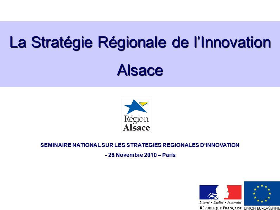 La Stratégie Régionale de lInnovation Alsace SEMINAIRE NATIONAL SUR LES STRATEGIES REGIONALES DINNOVATION - 26 Novembre 2010 – Paris - 26 Novembre 201