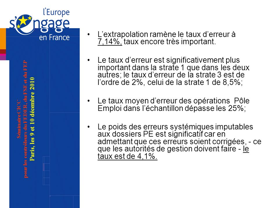 Séminaire CICC pour les contrôleurs du FEDER, du FSE et du FEP Paris, les 9 et 10 décembre 2010 Lextrapolation ramène le taux derreur à 7,14%, taux encore très important.