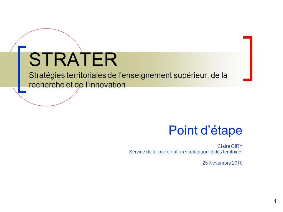 1 STRATER Stratégies territoriales de lenseignement supérieur, de la recherche et de linnovation Point détape Claire GIRY Service de la coordination s
