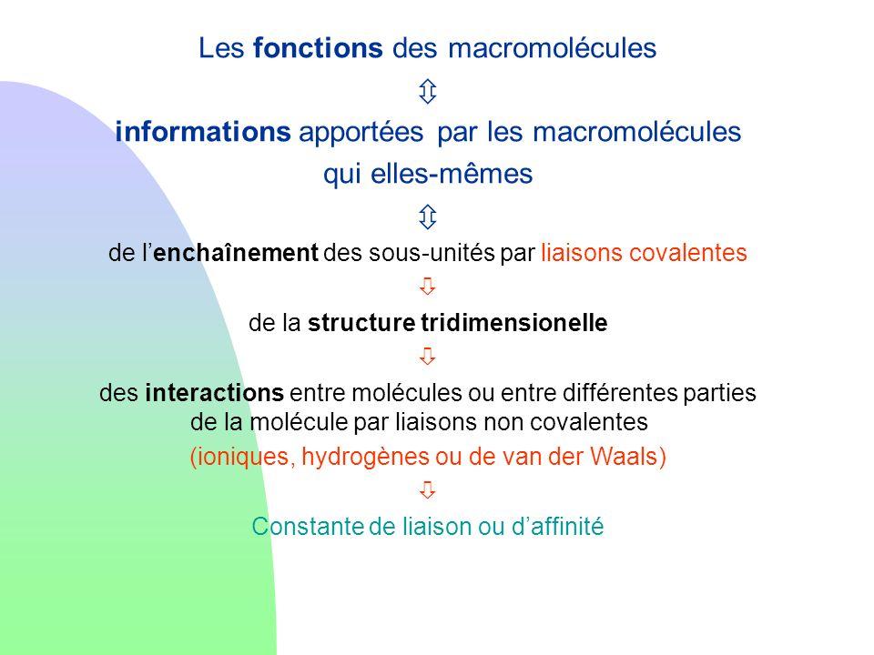 Les fonctions des macromolécules informations apportées par les macromolécules qui elles-mêmes de lenchaînement des sous-unités par liaisons covalente