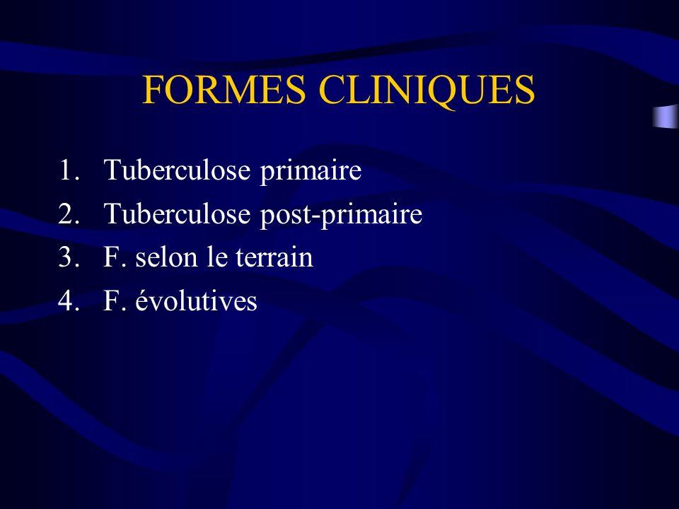 FORMES CLINIQUES 1.Tuberculose primaire 2.Tuberculose post-primaire 3.F. selon le terrain 4.F. évolutives