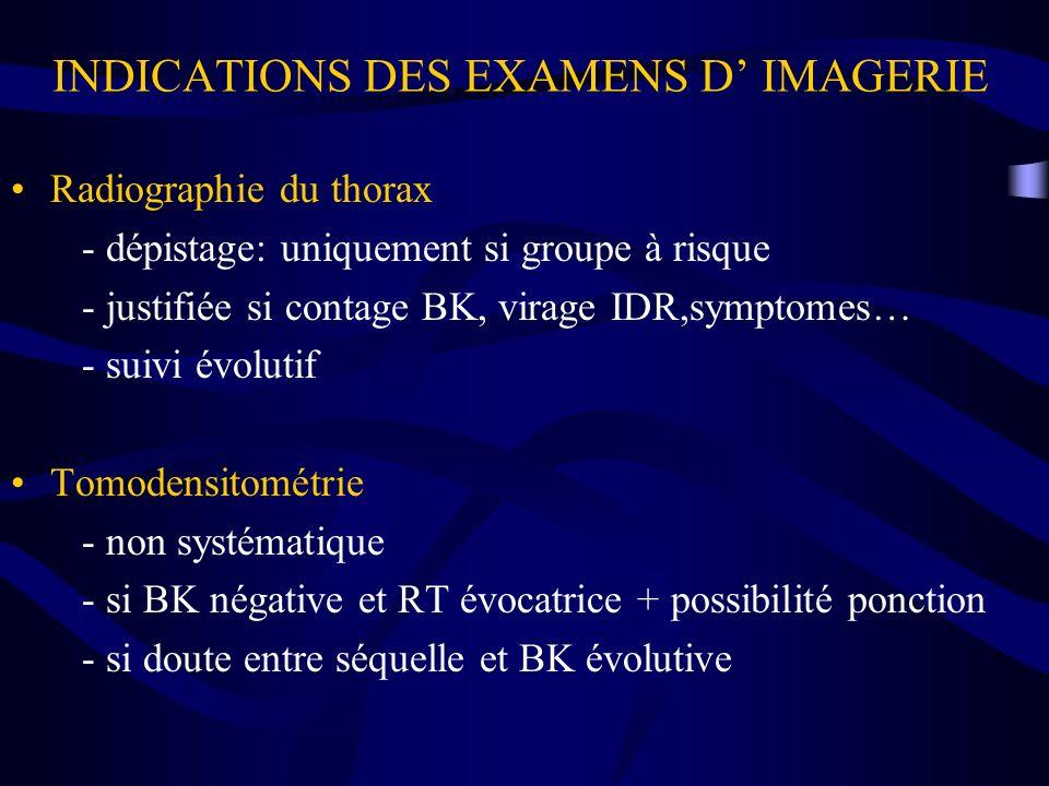 INDICATIONS DES EXAMENS D IMAGERIE Radiographie du thorax - dépistage: uniquement si groupe à risque - justifiée si contage BK, virage IDR,symptomes…