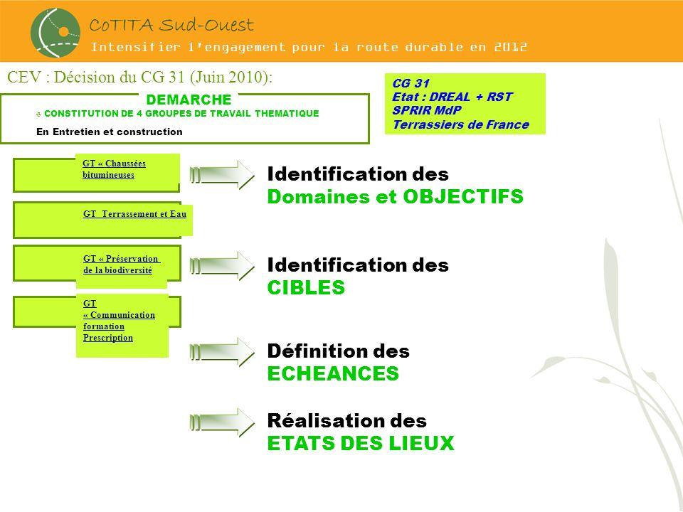 Intensifier l'engagement pour la route durable en 2012 CEV : Décision du CG 31 (Juin 2010): CG 31 Etat : DREAL + RST SPRIR MdP Terrassiers de France D