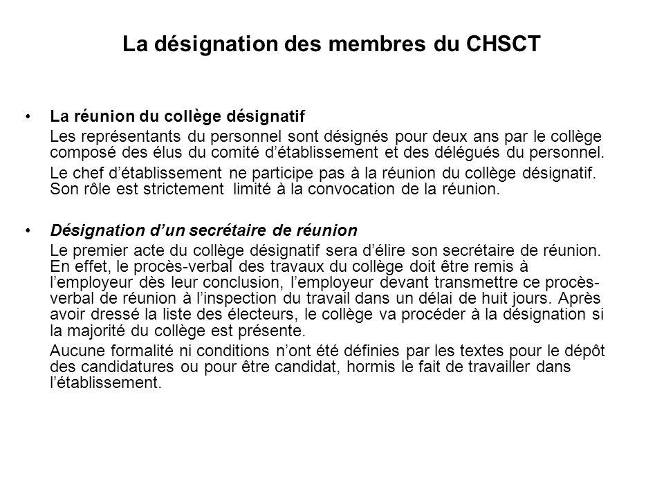 La désignation des membres du CHSCT La réunion du collège désignatif Les représentants du personnel sont désignés pour deux ans par le collège composé des élus du comité détablissement et des délégués du personnel.