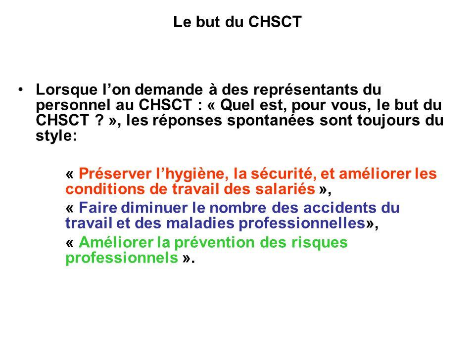 Le but du CHSCT Lorsque lon demande à des représentants du personnel au CHSCT : « Quel est, pour vous, le but du CHSCT .