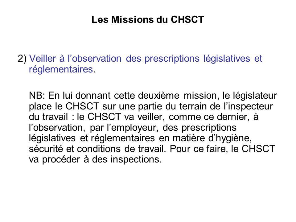 Les Missions du CHSCT 2) Veiller à lobservation des prescriptions législatives et réglementaires.