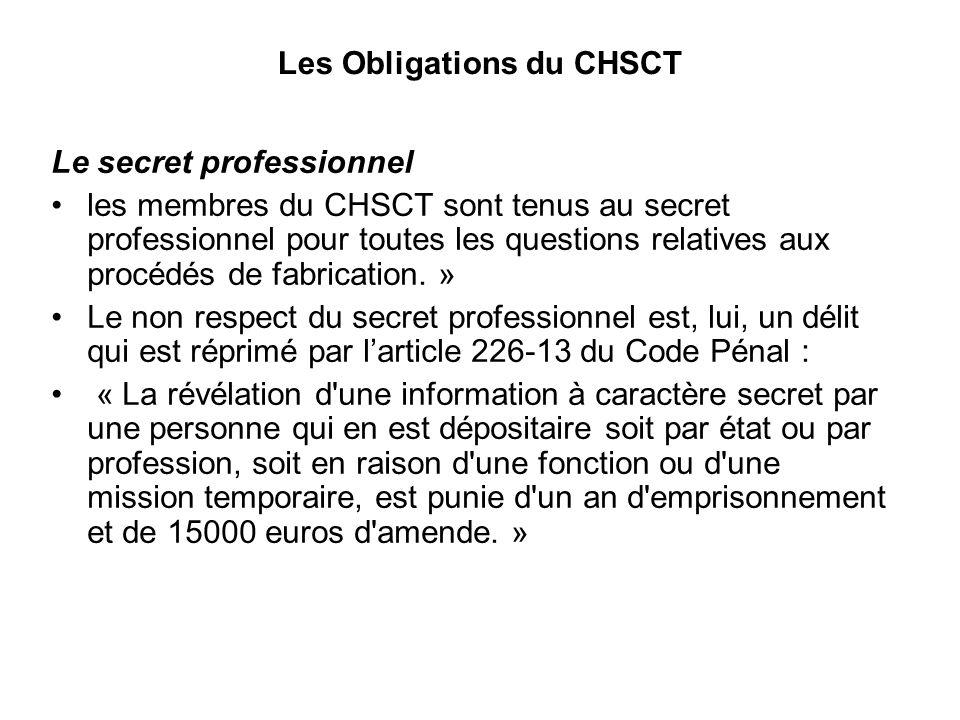 Les Obligations du CHSCT Le secret professionnel les membres du CHSCT sont tenus au secret professionnel pour toutes les questions relatives aux procédés de fabrication.