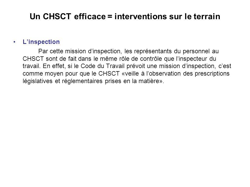Un CHSCT efficace = interventions sur le terrain Linspection Par cette mission dinspection, les représentants du personnel au CHSCT sont de fait dans le même rôle de contrôle que linspecteur du travail.