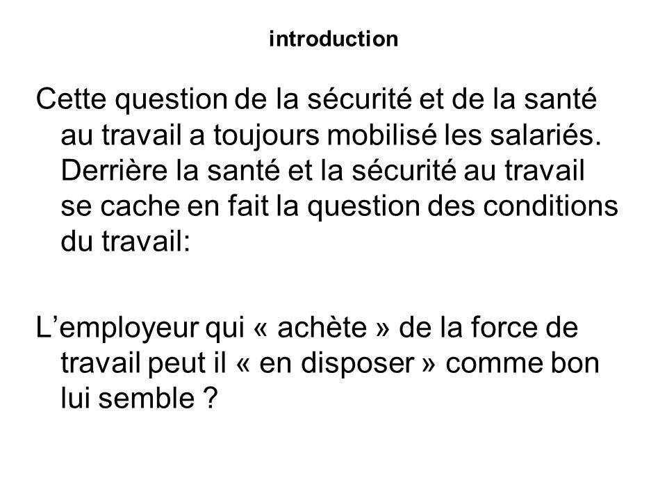 introduction Aujourdhui, la loi et la cour de cassation répondent NON : le salarié doit pouvoir quitter son travail dans le même état de santé et dintégrité physique quil avait avant de le commencer.