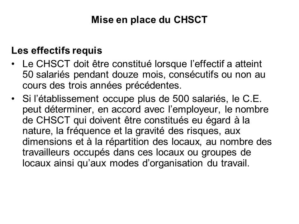Mise en place du CHSCT Les effectifs requis Le CHSCT doit être constitué lorsque leffectif a atteint 50 salariés pendant douze mois, consécutifs ou non au cours des trois années précédentes.