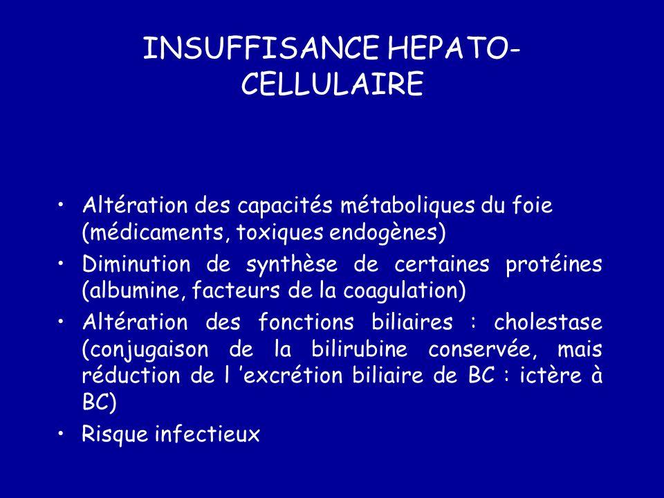 INSUFFISANCE HEPATO- CELLULAIRE Altération des capacités métaboliques du foie (médicaments, toxiques endogènes) Diminution de synthèse de certaines protéines (albumine, facteurs de la coagulation) Altération des fonctions biliaires : cholestase (conjugaison de la bilirubine conservée, mais réduction de l excrétion biliaire de BC : ictère à BC) Risque infectieux