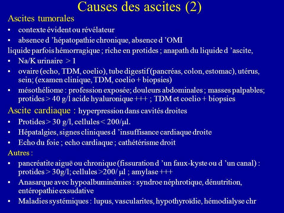 Causes des ascites (2) Ascites tumorales contexte évident ou révélateur absence d hépatopathie chronique, absence d OMI liquide parfois hémorragique ;