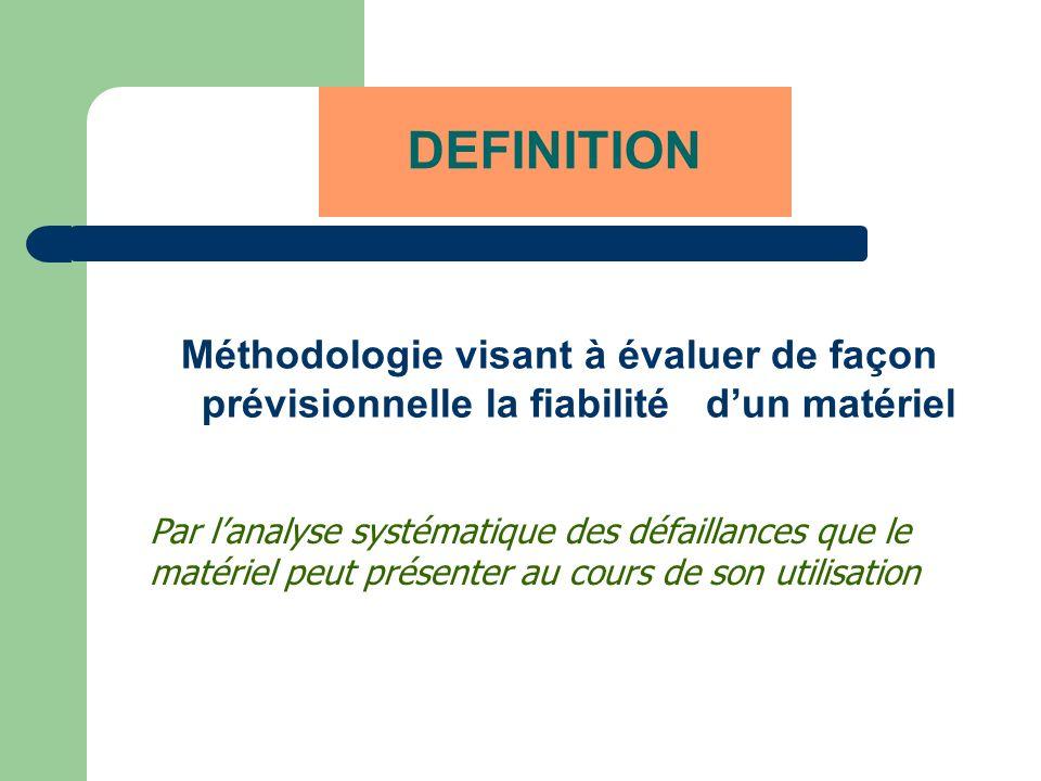 DEFINITION Méthodologie visant à évaluer de façon prévisionnelle la fiabilité dun matériel Par lanalyse systématique des défaillances que le matériel