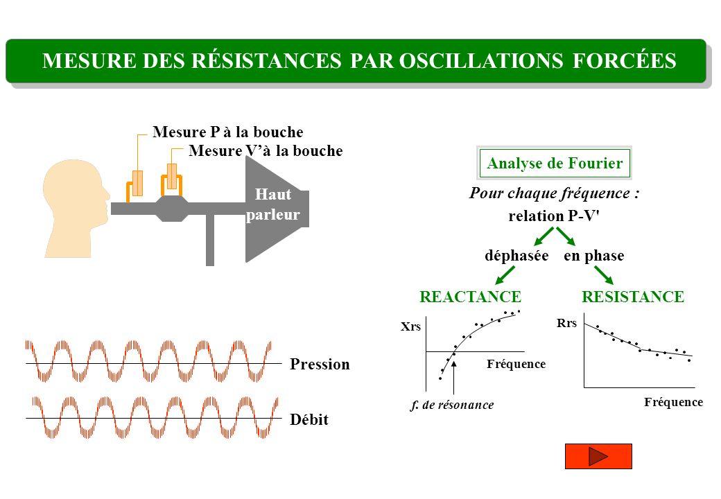 Mesure Và la bouche Mesure P à la bouche Haut parleur Pression Débit MESURE DES RÉSISTANCES PAR OSCILLATIONS FORCÉES Analyse de Fourier en phasedéphas