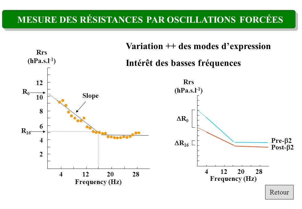 MESURE DES RÉSISTANCES PAR OSCILLATIONS FORCÉES Frequency (Hz) 4201228 2 4 8 6 10 12 R0R0 Slope Rrs (hPa.s.l -1 ) R 16 Variation ++ des modes dexpress