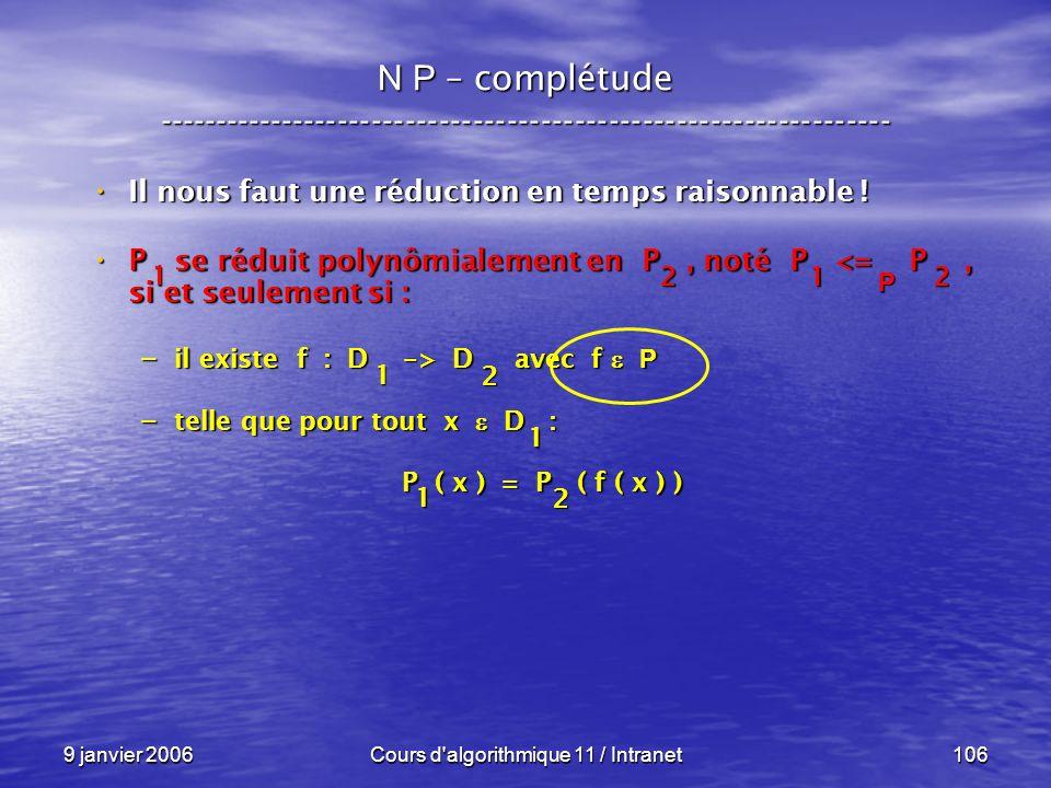 9 janvier 2006Cours d'algorithmique 11 / Intranet106 N P – complétude ----------------------------------------------------------------- Il nous faut u