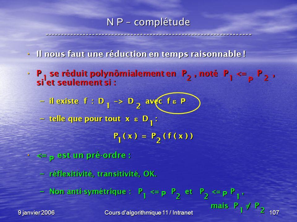 9 janvier 2006Cours d'algorithmique 11 / Intranet107 N P – complétude ----------------------------------------------------------------- Il nous faut u