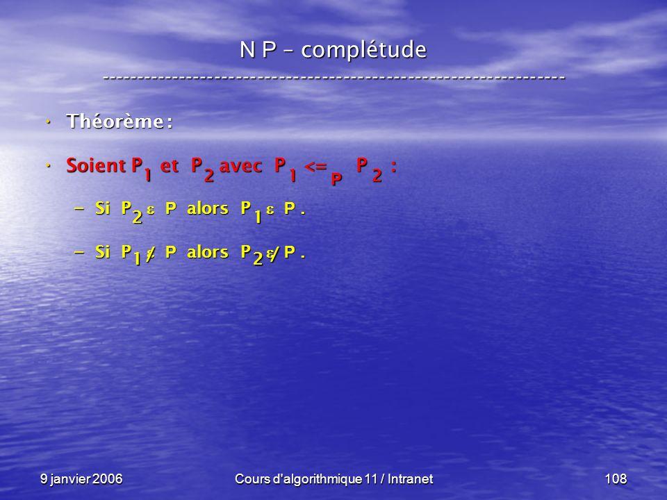 9 janvier 2006Cours d'algorithmique 11 / Intranet108 N P – complétude ----------------------------------------------------------------- Théorème : Thé