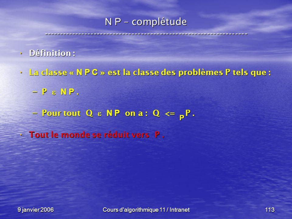 9 janvier 2006Cours d'algorithmique 11 / Intranet113 N P – complétude ----------------------------------------------------------------- Définition : D