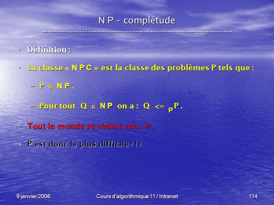 9 janvier 2006Cours d'algorithmique 11 / Intranet114 N P – complétude ----------------------------------------------------------------- Définition : D