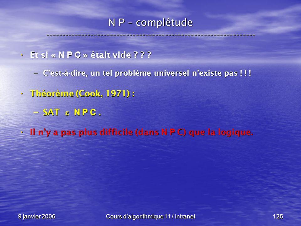 9 janvier 2006Cours d'algorithmique 11 / Intranet125 N P – complétude ----------------------------------------------------------------- Et si « N P C