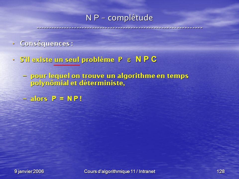 9 janvier 2006Cours d'algorithmique 11 / Intranet128 N P – complétude ----------------------------------------------------------------- Conséquences :