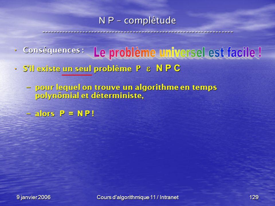 9 janvier 2006Cours d'algorithmique 11 / Intranet129 N P – complétude ----------------------------------------------------------------- Conséquences :