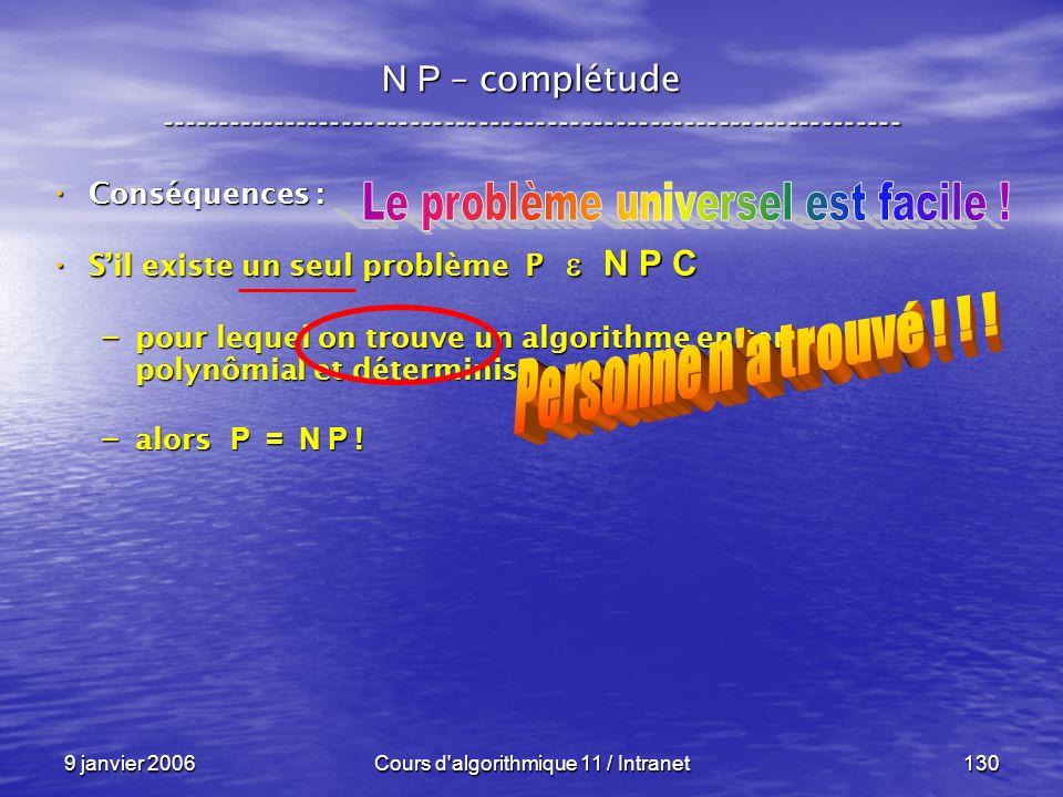 9 janvier 2006Cours d'algorithmique 11 / Intranet130 N P – complétude ----------------------------------------------------------------- Conséquences :