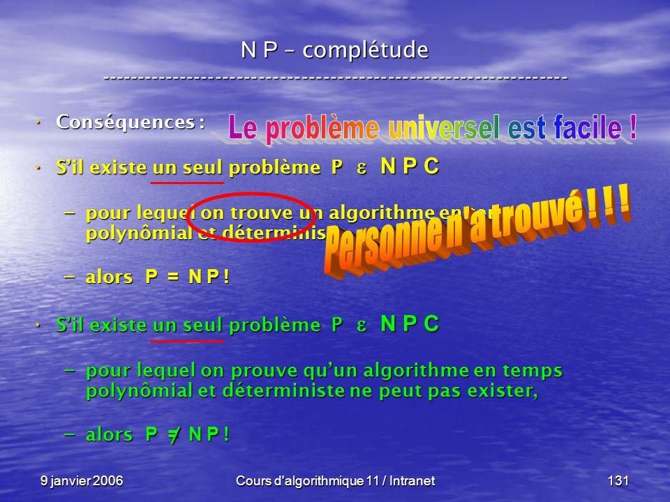 9 janvier 2006Cours d'algorithmique 11 / Intranet131 N P – complétude ----------------------------------------------------------------- Conséquences :
