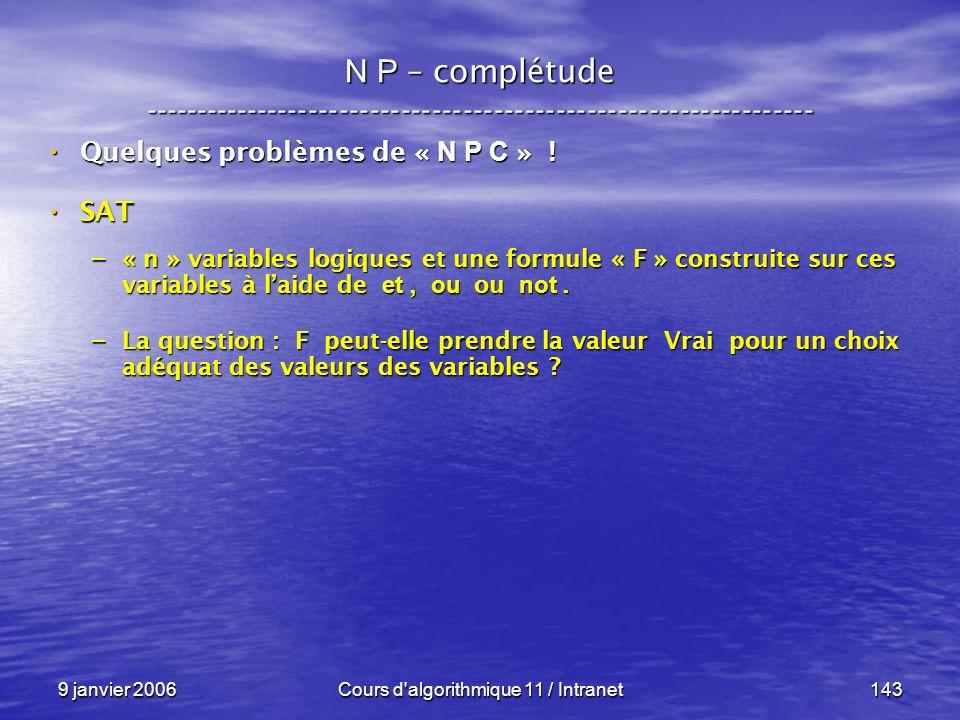 9 janvier 2006Cours d'algorithmique 11 / Intranet143 N P – complétude ----------------------------------------------------------------- Quelques probl