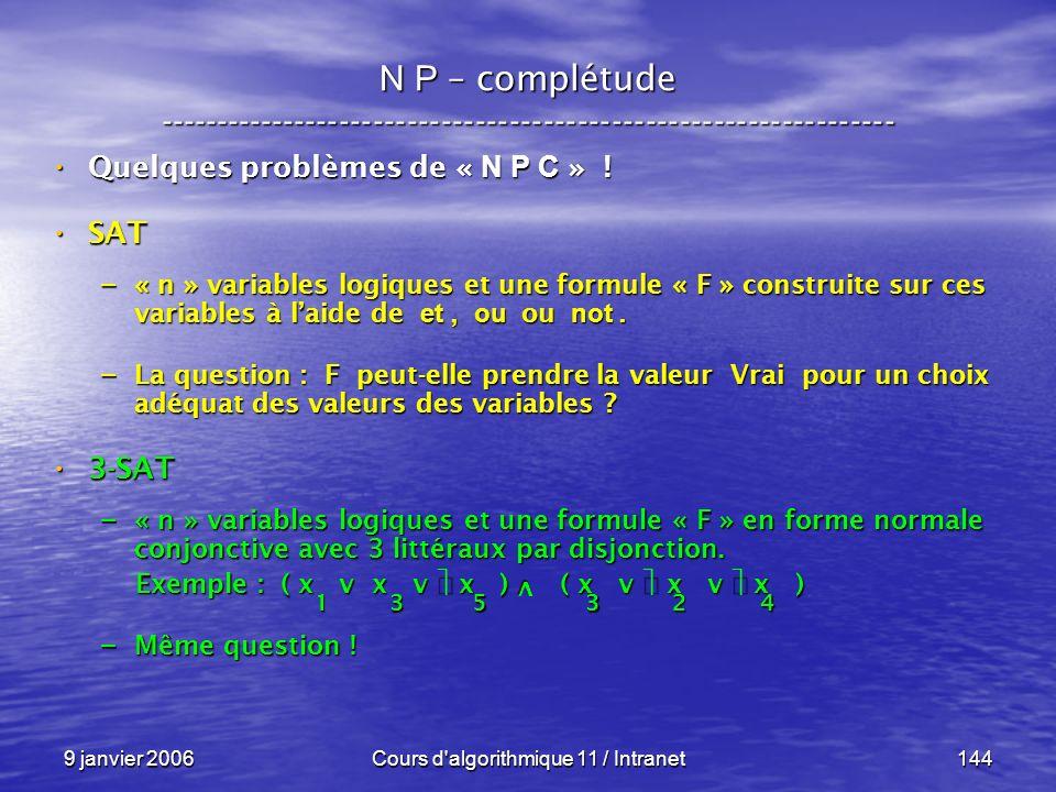 9 janvier 2006Cours d'algorithmique 11 / Intranet144 N P – complétude ----------------------------------------------------------------- Quelques probl