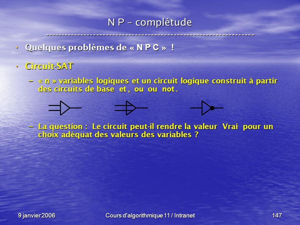 9 janvier 2006Cours d'algorithmique 11 / Intranet147 N P – complétude ----------------------------------------------------------------- Quelques probl