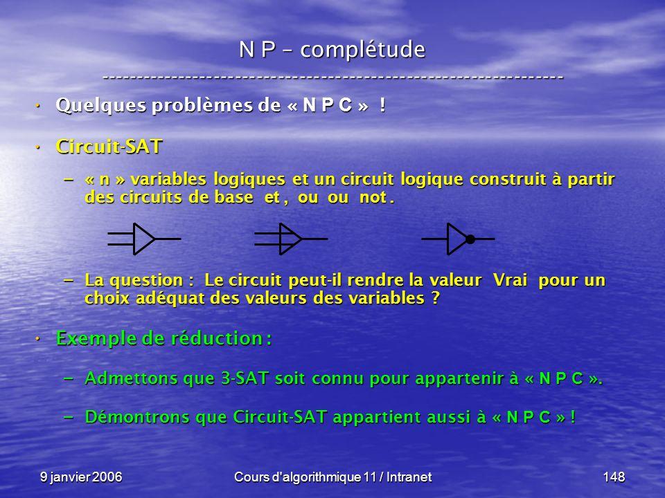 9 janvier 2006Cours d'algorithmique 11 / Intranet148 N P – complétude ----------------------------------------------------------------- Quelques probl