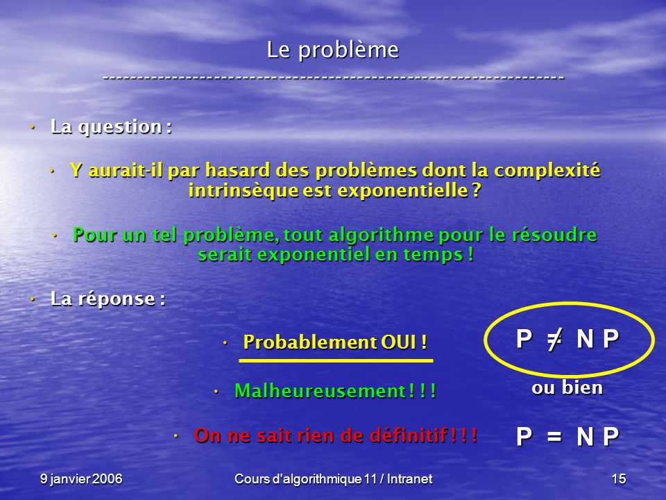 9 janvier 2006Cours d'algorithmique 11 / Intranet15 Le problème ----------------------------------------------------------------- La question : La que