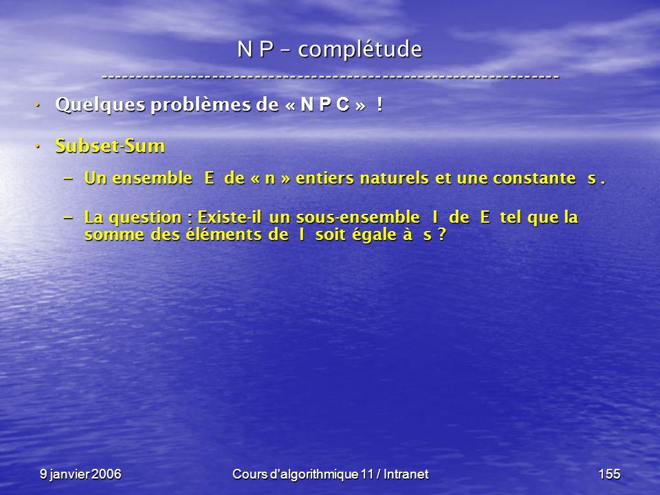 9 janvier 2006Cours d'algorithmique 11 / Intranet155 N P – complétude ----------------------------------------------------------------- Quelques probl