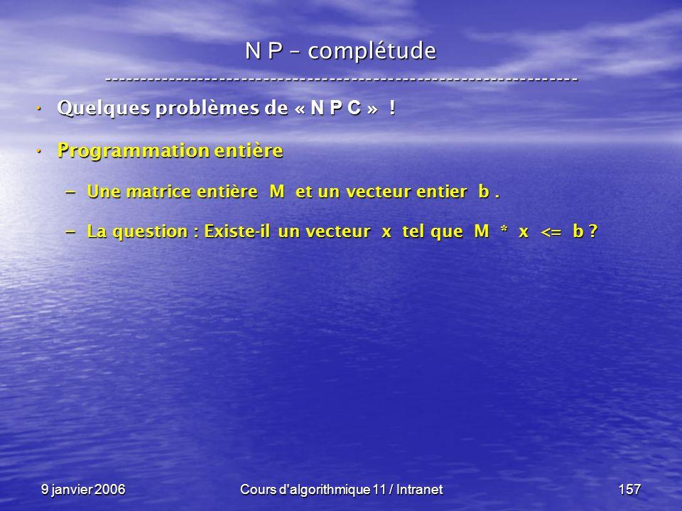 9 janvier 2006Cours d'algorithmique 11 / Intranet157 N P – complétude ----------------------------------------------------------------- Quelques probl