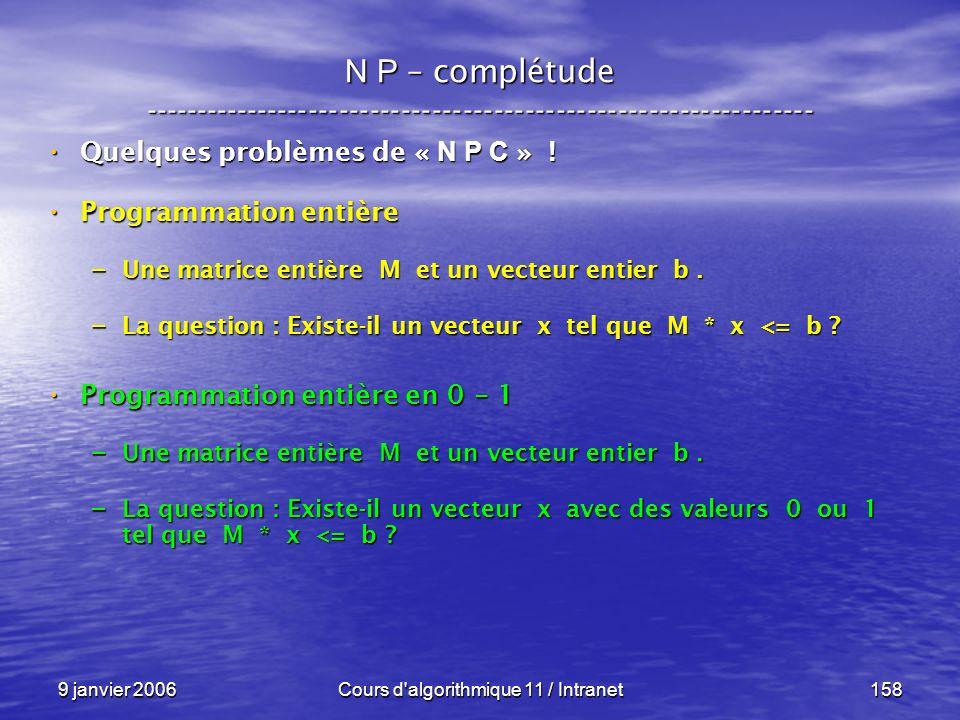 9 janvier 2006Cours d'algorithmique 11 / Intranet158 N P – complétude ----------------------------------------------------------------- Quelques probl