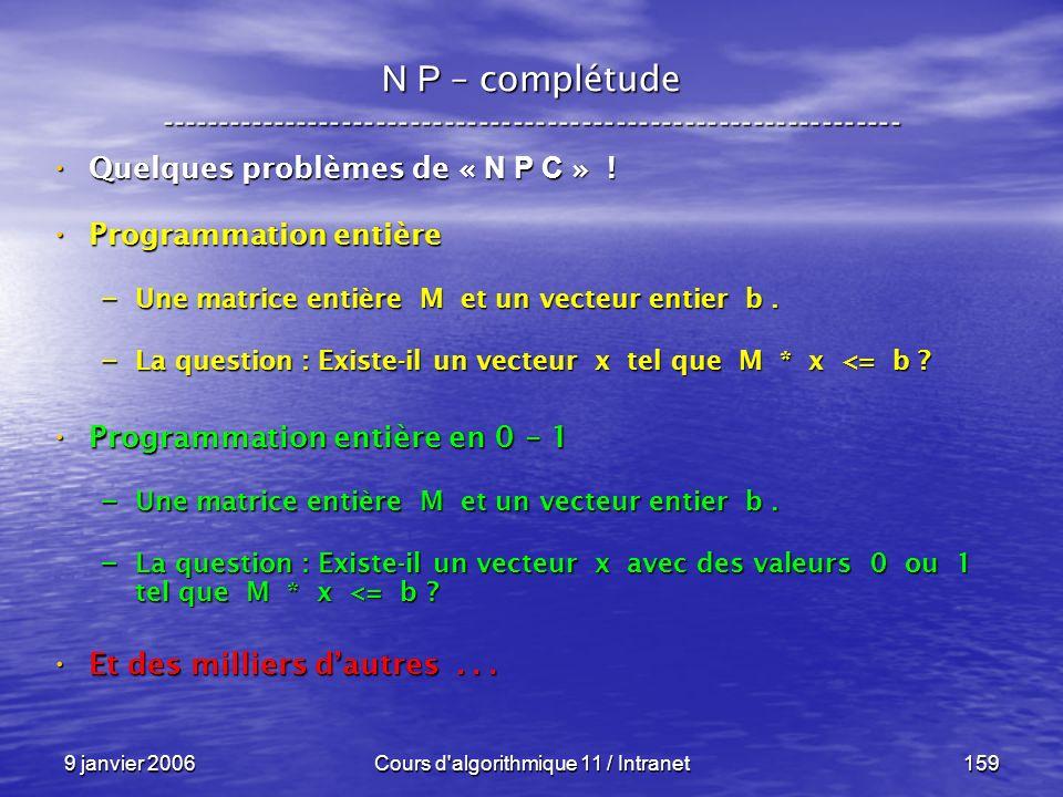9 janvier 2006Cours d'algorithmique 11 / Intranet159 N P – complétude ----------------------------------------------------------------- Quelques probl