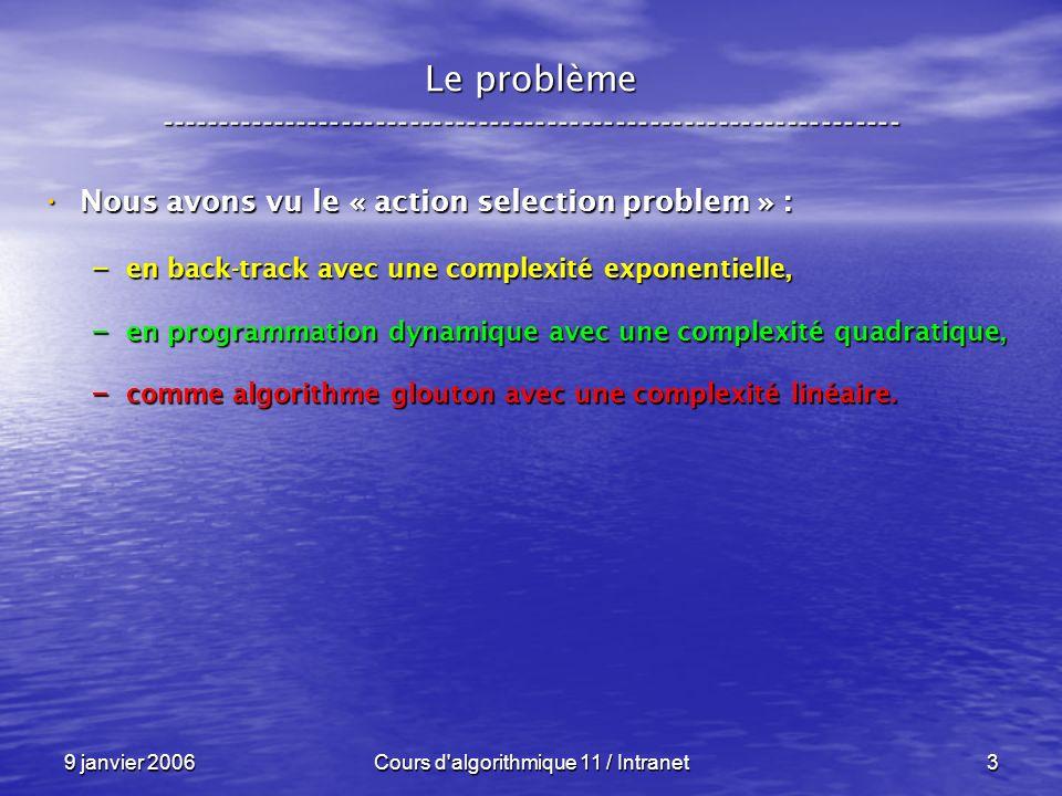 9 janvier 2006Cours d algorithmique 11 / Intranet4 Le problème ----------------------------------------------------------------- Nous avons vu le « action selection problem » : Nous avons vu le « action selection problem » : – en back-track avec une complexité exponentielle, – en programmation dynamique avec une complexité quadratique, – comme algorithme glouton avec une complexité linéaire.