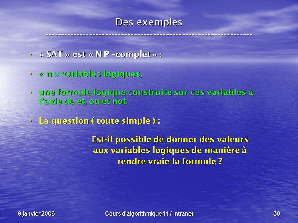 9 janvier 2006Cours d'algorithmique 11 / Intranet30 Des exemples ----------------------------------------------------------------- « SAT » est « N P –
