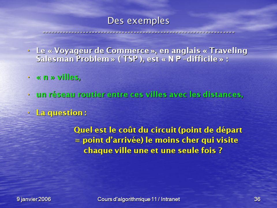 9 janvier 2006Cours d'algorithmique 11 / Intranet36 Des exemples ----------------------------------------------------------------- Le « Voyageur de Co