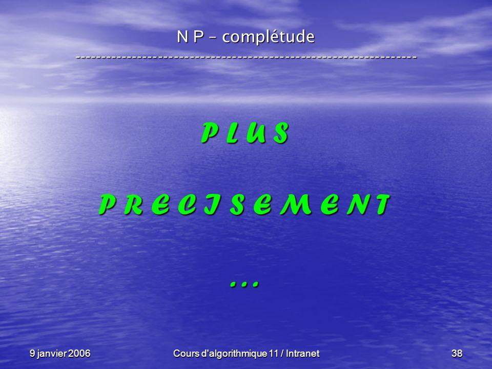 9 janvier 2006Cours d'algorithmique 11 / Intranet38 N P – complétude ----------------------------------------------------------------- P L U S P R E C