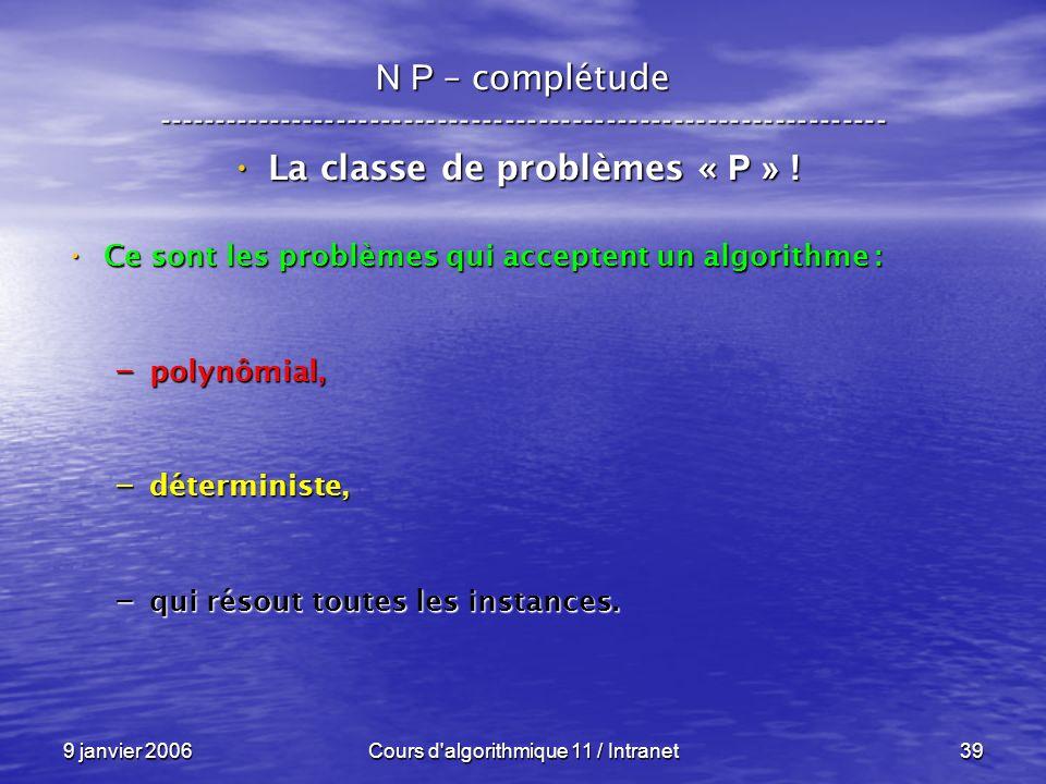 9 janvier 2006Cours d'algorithmique 11 / Intranet39 N P – complétude ----------------------------------------------------------------- La classe de pr
