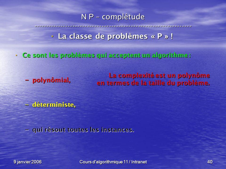 9 janvier 2006Cours d'algorithmique 11 / Intranet40 N P – complétude ----------------------------------------------------------------- La classe de pr