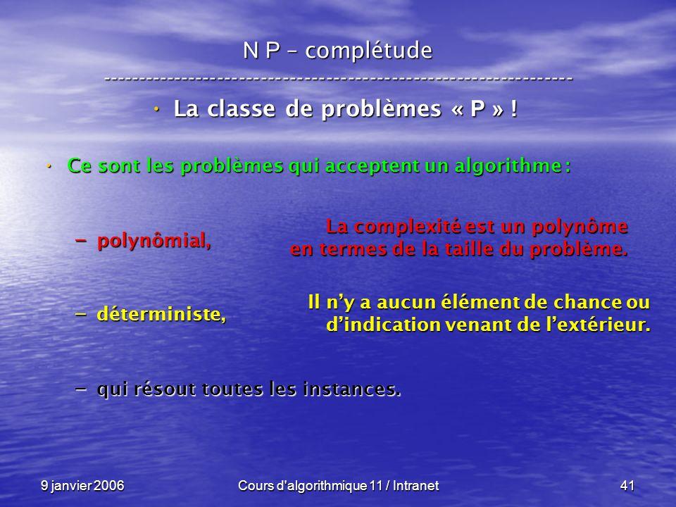 9 janvier 2006Cours d'algorithmique 11 / Intranet41 N P – complétude ----------------------------------------------------------------- La classe de pr